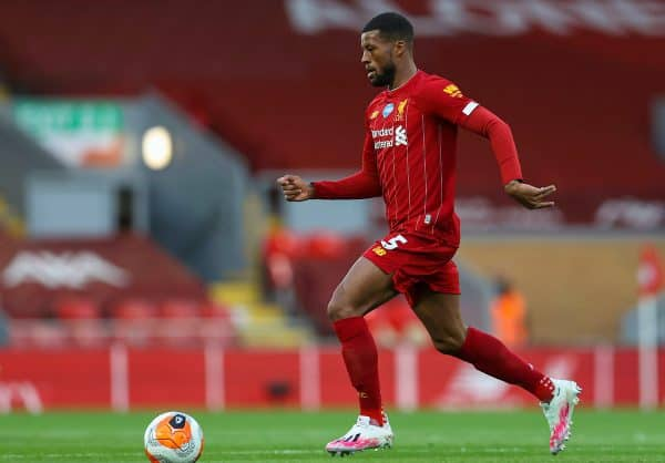 LIVERPOOL, ENGLAND - Wednesday, July 22, 2020: Liverpool's Gini Wijnaldum during the FA Premier League match between Liverpool FC and Chelsea FC at Anfield. The game was played behind closed doors due to the UK government's social distancing laws during the Coronavirus COVID-19 Pandemic. (Pic by David Rawcliffe/Propaganda)