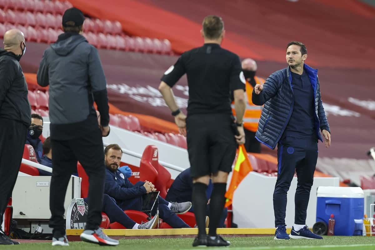 LIVERPOOL, ENGLAND - Wednesday, July 22, 2020: Chelsea's manager Frank Lampard argues with Liverpool bench during the FA Premier League match between Liverpool FC and Chelsea FC at Anfield. The game was played behind closed doors due to the UK government's social distancing laws during the Coronavirus COVID-19 Pandemic. (Pic by David Rawcliffe/Propaganda)