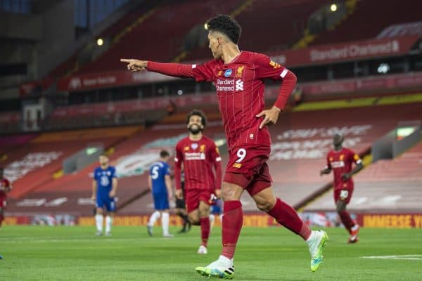 LIVERPOOL, ENGLAND - Wednesday, July 22, 2020: Liverpool's Roberto Firmino celebrates scoring the fourth goal during the FA Premier League match between Liverpool FC and Chelsea FC at Anfield. The game was played behind closed doors due to the UK government's social distancing laws during the Coronavirus COVID-19 Pandemic. (Pic by David Rawcliffe/Propaganda)