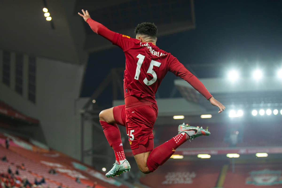 LIVERPOOL, ENGLAND - Wednesday, July 22, 2020: Liverpool's Alex Oxlade-Chamberlain celebrates scoring the fifth goal during the FA Premier League match between Liverpool FC and Chelsea FC at Anfield. The game was played behind closed doors due to the UK government's social distancing laws during the Coronavirus COVID-19 Pandemic. (Pic by David Rawcliffe/Propaganda)