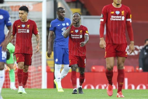 LIVERPOOL, ENGLAND - Wednesday, July 22, 2020: Liverpool's Naby Keita celebrates scoring the first goal during the FA Premier League match between Liverpool FC and Chelsea FC at Anfield. The game was played behind closed doors due to the UK government's social distancing laws during the Coronavirus COVID-19 Pandemic. (Pic by David Rawcliffe/Propaganda)