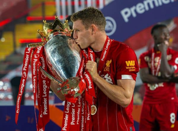 LIVERPOOL, ENGLAND - Wednesday, July 22, 2020: Liverpool's James Milner kisses the trophy after the FA Premier League match between Liverpool FC and Chelsea FC at Anfield. The game was played behind closed doors due to the UK government's social distancing laws during the Coronavirus COVID-19 Pandemic. (Pic by David Rawcliffe/Propaganda)