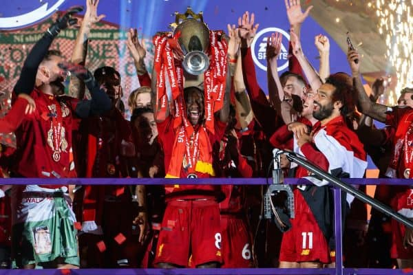 LIVERPOOL, ENGLAND - Wednesday, July 22, 2020: Liverpool's Naby Keita lifts the Premier League trophy after the FA Premier League match between Liverpool FC and Chelsea FC at Anfield. The game was played behind closed doors due to the UK government's social distancing laws during the Coronavirus COVID-19 Pandemic. Liverpool won 5-3. (Pic by David Rawcliffe/Propaganda)