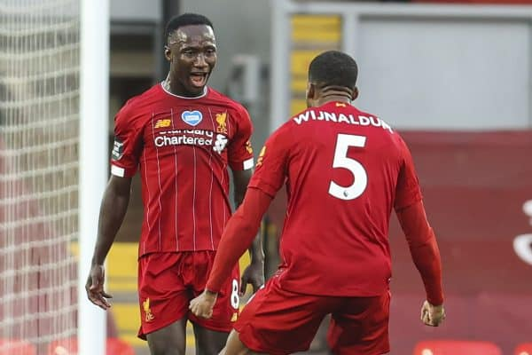 LIVERPOOL, ENGLAND - Wednesday, July 22, 2020: Liverpool's Naby Keita celebrates scoring the first goal with team-mate Georginio Wijnaldum during the FA Premier League match between Liverpool FC and Chelsea FC at Anfield. The game was played behind closed doors due to the UK government's social distancing laws during the Coronavirus COVID-19 Pandemic. (Pic by David Rawcliffe/Propaganda)