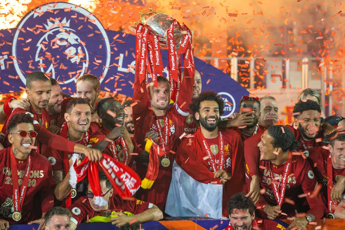 LIVERPOOL, ENGLAND - Wednesday, July 22, 2020: Liverpool's captain Jordan Henderson lifts the Premier League trophy after the FA Premier League match between Liverpool FC and Chelsea FC at Anfield. The game was played behind closed doors due to the UK government's social distancing laws during the Coronavirus COVID-19 Pandemic. Liverpool won 5-3. (Pic by David Rawcliffe/Propaganda)