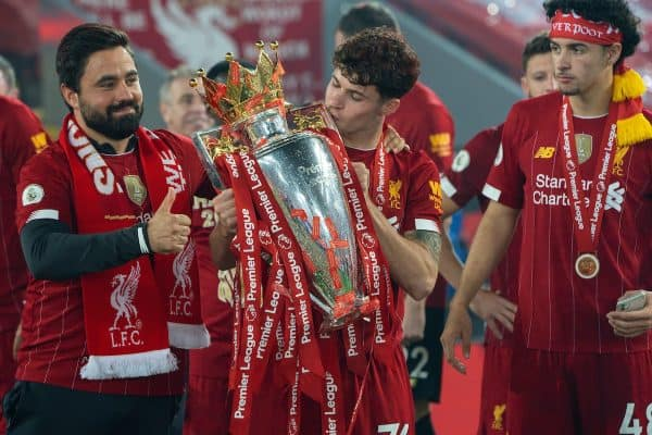 LIVERPOOL, ENGLAND - Wednesday, July 22, 2020: Liverpool's Neco Williams kisses the Premier League trophy as his side are crowned Champions after the FA Premier League match between Liverpool FC and Chelsea FC at Anfield. The game was played behind closed doors due to the UK government's social distancing laws during the Coronavirus COVID-19 Pandemic. Liverpool won 5-3. (Pic by David Rawcliffe/Propaganda)