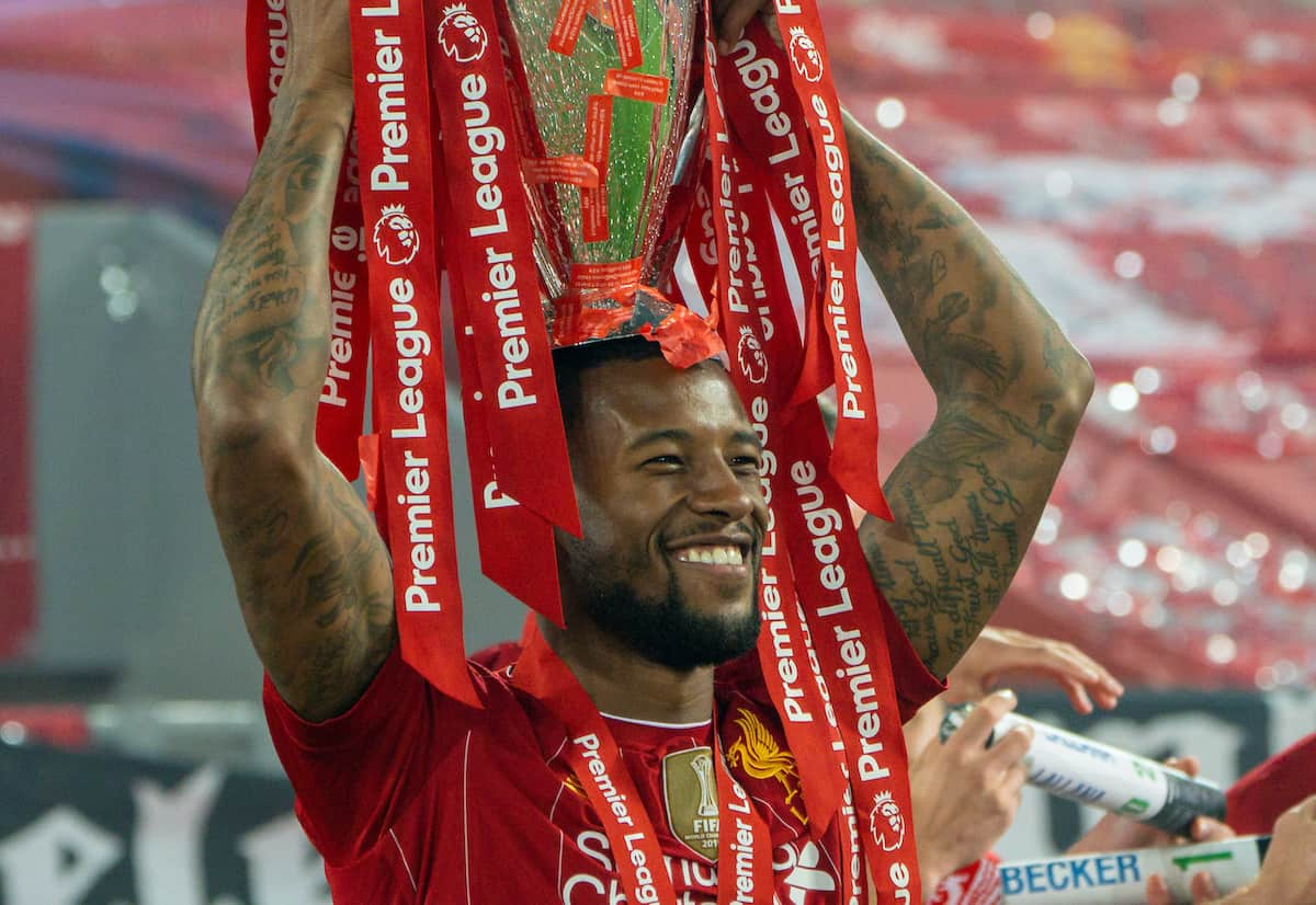 LIVERPOOL, ENGLAND - Wednesday, July 22, 2020: Liverpool's Georginio Wijnaldum celebrates with the Premier League trophy as his side are crowned Champions after the FA Premier League match between Liverpool FC and Chelsea FC at Anfield. The game was played behind closed doors due to the UK government's social distancing laws during the Coronavirus COVID-19 Pandemic. Liverpool won 5-3. (Pic by David Rawcliffe/Propaganda)