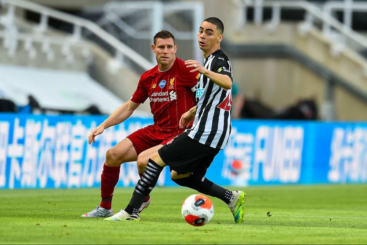 LIVERPOOL, ENGLAND - Sunday, July 26, 2020: Liverpool's James Milner during the final match of the FA Premier League season between Newcastle United FC and Liverpool FC at St. James' Park. The game was played behind closed doors due to the UK government's social distancing laws during the Coronavirus COVID-19 Pandemic. (Pic by David Rawcliffe/Propagandab)