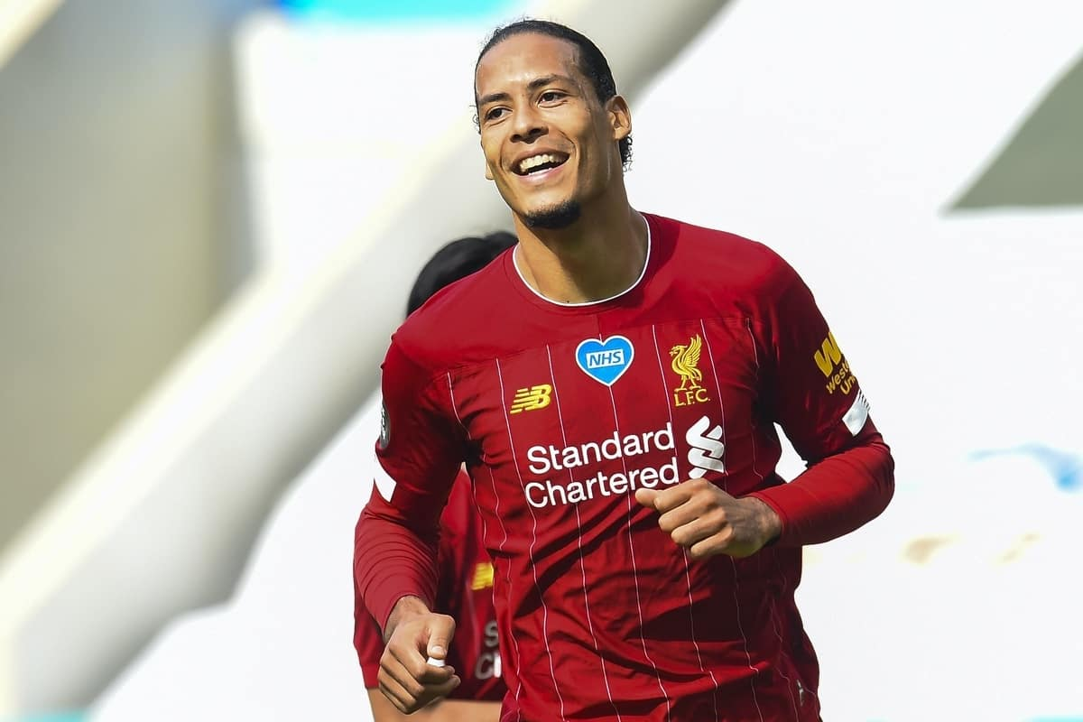 LIVERPOOL, ENGLAND - Sunday, July 26, 2020: Liverpool's Virgil van Dijk celebrates scoring the first goal during the final match of the FA Premier League season between Newcastle United FC and Liverpool FC at St. James' Park. The game was played behind closed doors due to the UK government's social distancing laws during the Coronavirus COVID-19 Pandemic. (Pic by Propaganda)