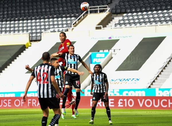 LIVERPOOL, ENGLAND - Sunday, July 26, 2020: Liverpool's Virgil van Dijk scores the first goal with a header during the final match of the FA Premier League season between Newcastle United FC and Liverpool FC at St. James' Park. The game was played behind closed doors due to the UK government's social distancing laws during the Coronavirus COVID-19 Pandemic. (Pic by Propaganda)