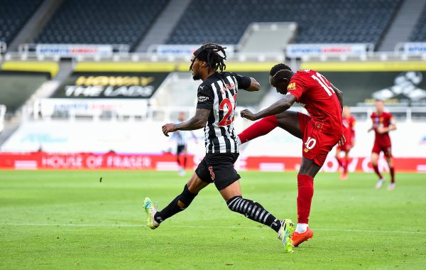 LIVERPOOL, ENGLAND - Sunday, July 26, 2020: Liverpool's Sadio Mané scores the third goal during the final match of the FA Premier League season between Newcastle United FC and Liverpool FC at St. James' Park. The game was played behind closed doors due to the UK government's social distancing laws during the Coronavirus COVID-19 Pandemic. Liverpool won 3-1 and finished the season as Champions on 99 points. (Pic by Propaganda)