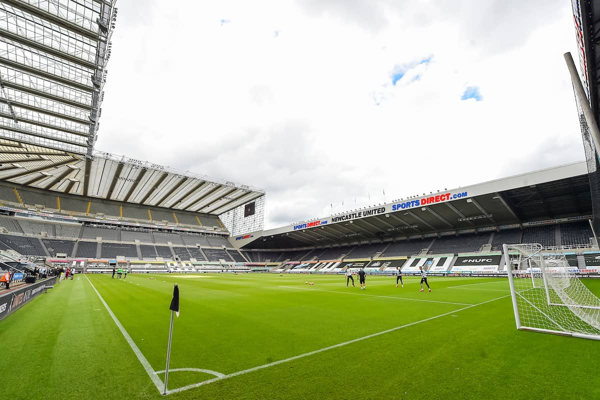 LIVERPOOL, ENGLAND - Sunday, July 26, 2020: A general view of St. James' Park before the final match of the FA Premier League season between Newcastle United FC and Liverpool FC. The game was played behind closed doors due to the UK government's social distancing laws during the Coronavirus COVID-19 Pandemic. (Pic by David Rawcliffe/Propagandab)