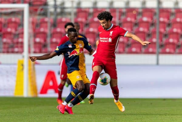 SALZBURG, AUSTRIA - Tuesday, August 25, 2020: Liverpool's Curtis Jones during a preseason friendly match between FC Red Bull Salzburg and Liverpool FC at the Red Bull Arena. (Pic by Propaganda)