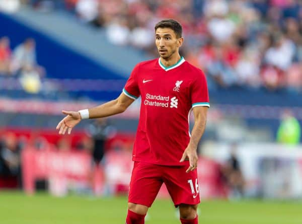 SALZBURG, AUSTRIA - Tuesday, August 25, 2020: Liverpool's Marko Grujic during a preseason friendly match between FC Red Bull Salzburg and Liverpool FC at the Red Bull Arena. (Pic by Propaganda)
