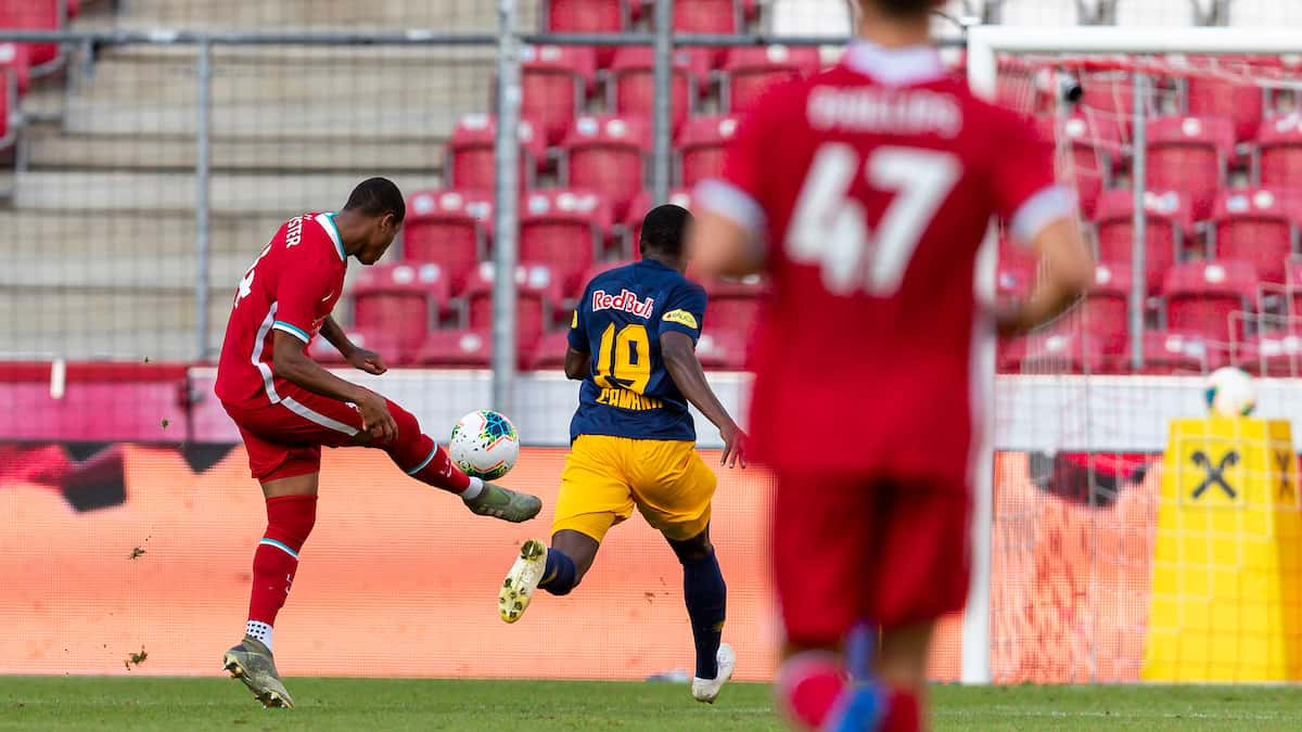 SALZBURG, AUSTRIA - Tuesday, August 25, 2020: Liverpool's Rhian Brewster scores the second goal during a preseason friendly match between FC Red Bull Salzburg and Liverpool FC at the Red Bull Arena. (Pic by Propaganda)