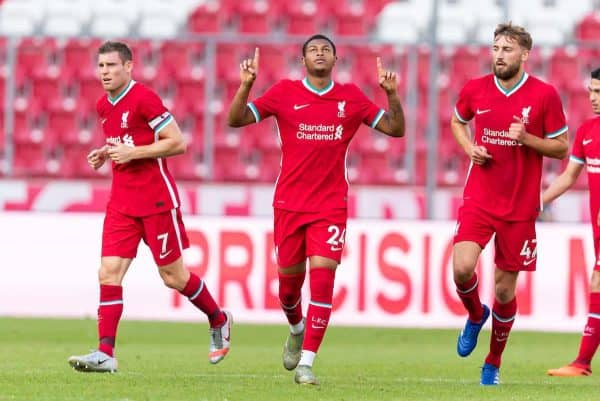 Liverpool's Rhian Brewster celebrates scoring the second goal during a preseason friendly match between FC Red Bull Salzburg and Liverpool FC at the Red Bull Arena. (Pic by Propaganda)