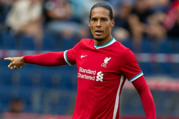 Liverpool's Virgil van Dijk during a preseason friendly match between FC Red Bull Salzburg and Liverpool FC at the Red Bull Arena. (Pic by Propaganda)