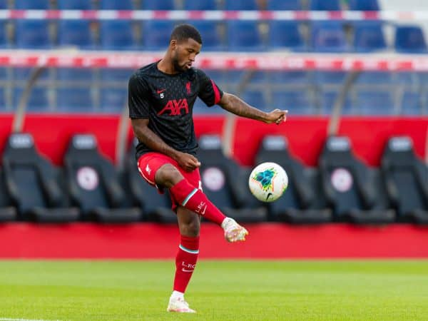 SALZBURG, AUSTRIA - Tuesday, August 25, 2020: Liverpool's Georginio Wijnaldum during the pre-match warm-up before a preseason friendly match between FC Red Bull Salzburg and Liverpool FC at the Red Bull Arena. (Pic by Propaganda)