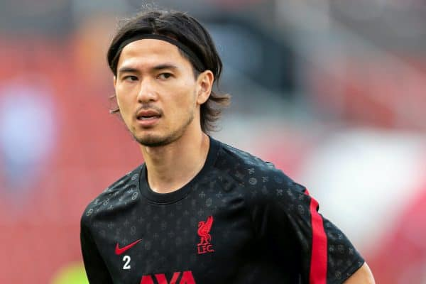 SALZBURG, AUSTRIA - Tuesday, August 25, 2020: Liverpool's Takumi Minamino during the pre-match warm-up before a preseason friendly match between FC Red Bull Salzburg and Liverpool FC at the Red Bull Arena. (Pic by Propaganda)