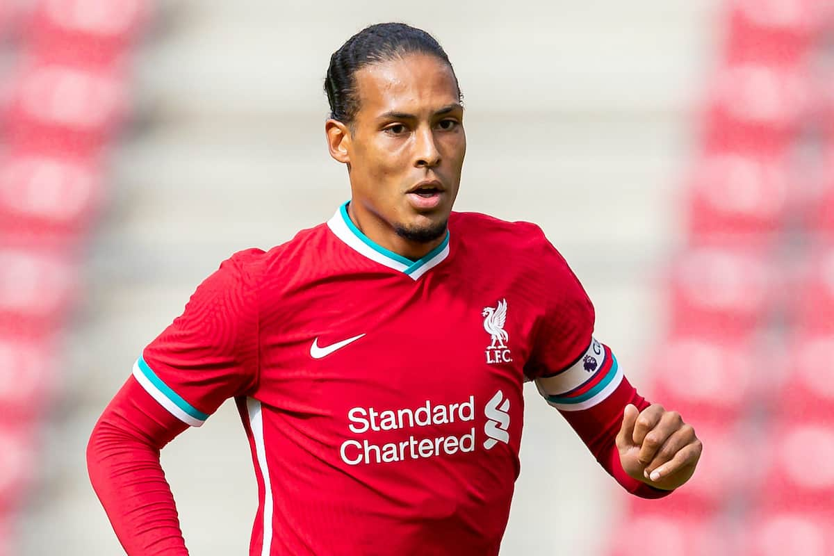 SALZBURG, AUSTRIA - Tuesday, August 25, 2020: Liverpool's Virgil van Dijk during a preseason friendly match between FC Red Bull Salzburg and Liverpool FC at the Red Bull Arena. (Pic by Propaganda)