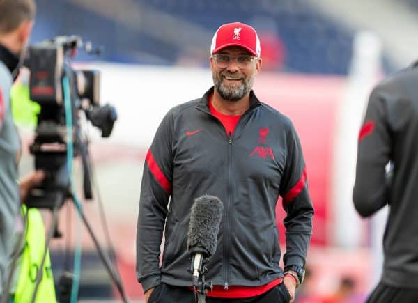 SALZBURG, AUSTRIA - Tuesday, August 25, 2020: Liverpool's manager Jürgen Klopp before a preseason friendly match between FC Red Bull Salzburg and Liverpool FC at the Red Bull Arena. (Pic by Propaganda)