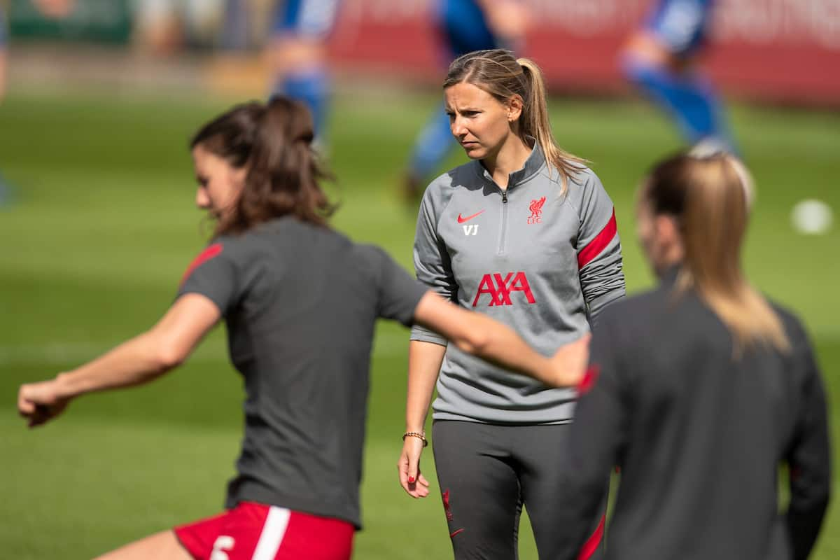BIRKENHEAD, ENGLAND - Sunday, September 6, 2020: Liverpool Women's mamager Vicky Jepson during the pre-match warm-up before the FA Women's Championship game between Liverpool FC Women and Durham Women FC at Prenton Park. (Pic by Paul Greenwood/Propaganda)