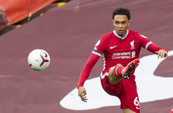 LIVERPOOL, ENGLAND - Saturday, September 12, 2020: Liverpool's Trent Alexander-Arnold during the opening FA Premier League match between Liverpool FC and Leeds United FC at Anfield. The game was played behind closed doors due to the UK government's social distancing laws during the Coronavirus COVID-19 Pandemic. (Pic by David Rawcliffe/Propaganda)