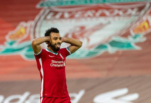 LIVERPOOL, ENGLAND - Saturday, September 12, 2020: Liverpool's Mohamed Salah celebrates after scoring the fourth goal, his hat-trick, from a penalty-kick to make the score 4-3 during the opening FA Premier League match between Liverpool FC and Leeds United FC at Anfield. The game was played behind closed doors due to the UK government's social distancing laws during the Coronavirus COVID-19 Pandemic. (Pic by David Rawcliffe/Propaganda)