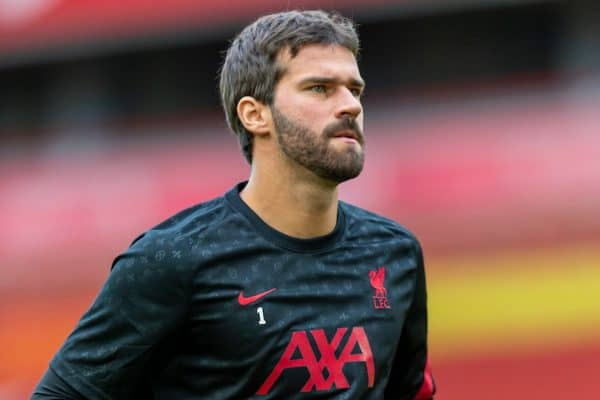 Liverpool's goalkeeper Alisson Becker during the pre-match warm-up before the opening FA Premier League match between Liverpool FC and Leeds United FC at Anfield. The game was played behind closed doors due to the UK government's social distancing laws during the Coronavirus COVID-19 Pandemic. (Pic by David Rawcliffe/Propaganda)