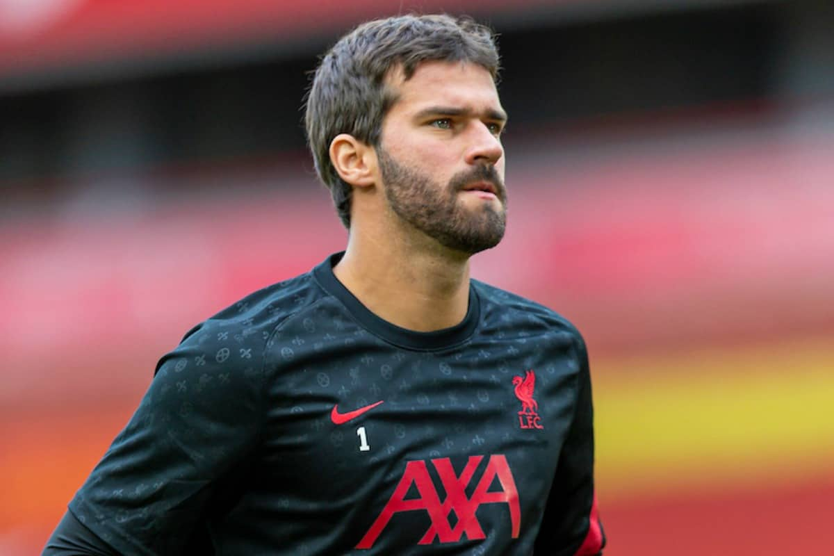 IVERPOOL, ENGLAND - Saturday, September 12, 2020: Liverpool's goalkeeper Alisson Becker during the pre-match warm-up before the opening FA Premier League match between Liverpool FC and Leeds United FC at Anfield. The game was played behind closed doors due to the UK government's social distancing laws during the Coronavirus COVID-19 Pandemic. (Pic by David Rawcliffe/Propaganda)