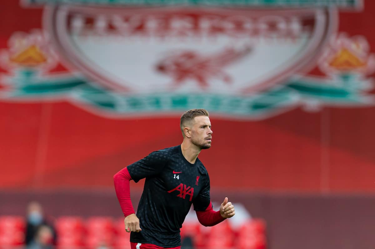 LIVERPOOL, ENGLAND - Saturday, September 12, 2020: Liverpool's captain Jordan Henderson during the pre-match warm-up before the opening FA Premier League match between Liverpool FC and Leeds United FC at Anfield. The game was played behind closed doors due to the UK government's social distancing laws during the Coronavirus COVID-19 Pandemic. (Pic by David Rawcliffe/Propaganda)