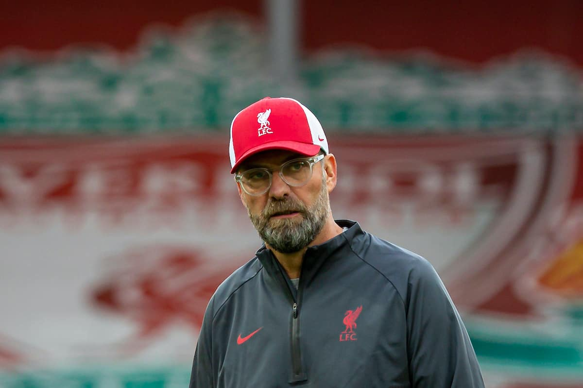 LIVERPOOL, ENGLAND - Saturday, September 12, 2020: Liverpool's manager Jürgen Klopp during the pre-match warm-up before the opening FA Premier League match between Liverpool FC and Leeds United FC at Anfield. The game was played behind closed doors due to the UK government's social distancing laws during the Coronavirus COVID-19 Pandemic. (Pic by David Rawcliffe/Propaganda)