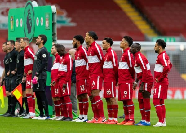 LIVERPOOL, ENGLAND - Saturday, September 12, 2020: Liverpool's players in anthem jackets before the opening FA Premier League match between Liverpool FC and Leeds United FC at Anfield. The game was played behind closed doors due to the UK government's social distancing laws during the Coronavirus COVID-19 Pandemic. (Pic by David Rawcliffe/Propaganda)