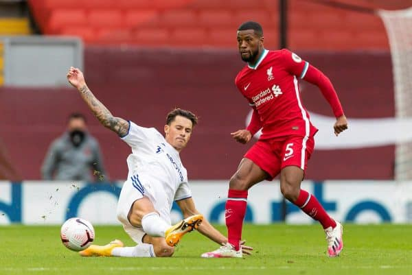 LIVERPOOL, ENGLAND - Saturday, September 12, 2020: Liverpool's Georginio Wijnaldum (R) and Leeds United's Robin Koch during the opening FA Premier League match between Liverpool FC and Leeds United FC at Anfield. The game was played behind closed doors due to the UK government's social distancing laws during the Coronavirus COVID-19 Pandemic. (Pic by David Rawcliffe/Propaganda)