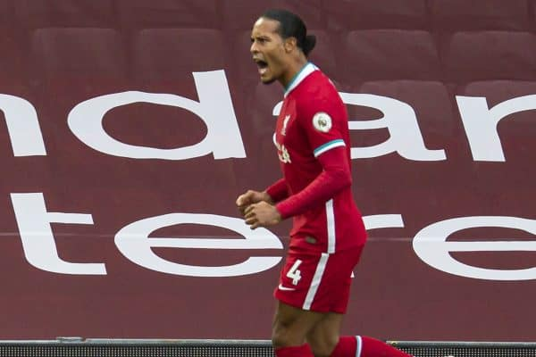 LIVERPOOL, ENGLAND - Saturday, September 12, 2020: Liverpool's Virgil van Dijk celebrates scoring the second goal during the opening FA Premier League match between Liverpool FC and Leeds United FC at Anfield. The game was played behind closed doors due to the UK government's social distancing laws during the Coronavirus COVID-19 Pandemic. (Pic by David Rawcliffe/Propaganda)