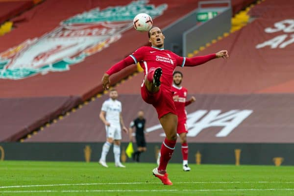 LIVERPOOL, ENGLAND - Saturday, September 12, 2020: Liverpool's Virgil van Dijk makes a mistake which leads to Leeds United's second goal during the opening FA Premier League match between Liverpool FC and Leeds United FC at Anfield. The game was played behind closed doors due to the UK government's social distancing laws during the Coronavirus COVID-19 Pandemic. (Pic by David Rawcliffe/Propaganda)