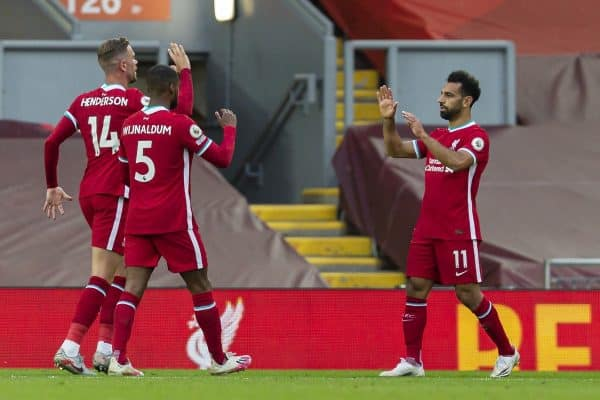 LIVERPOOL, ENGLAND - Saturday, September 12, 2020: Liverpool's Mohamed Salah (R) celebrates after scoring the third goal to make the score 3-2 during the opening FA Premier League match between Liverpool FC and Leeds United FC at Anfield. The game was played behind closed doors due to the UK government's social distancing laws during the Coronavirus COVID-19 Pandemic. (Pic by David Rawcliffe/Propaganda)