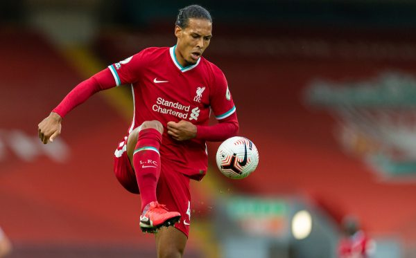 LIVERPOOL, ENGLAND - Saturday, September 12, 2020: Liverpool's Virgil van Dijk during the opening FA Premier League match between Liverpool FC and Leeds United FC at Anfield. The game was played behind closed doors due to the UK government's social distancing laws during the Coronavirus COVID-19 Pandemic. (Pic by David Rawcliffe/Propaganda)