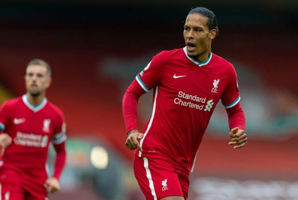 Liverpool's Virgil van Dijk during the opening FA Premier League match between Liverpool FC and Leeds United FC at Anfield. The game was played behind closed doors due to the UK government's social distancing laws during the Coronavirus COVID-19 Pandemic. (Pic by David Rawcliffe/Propaganda)