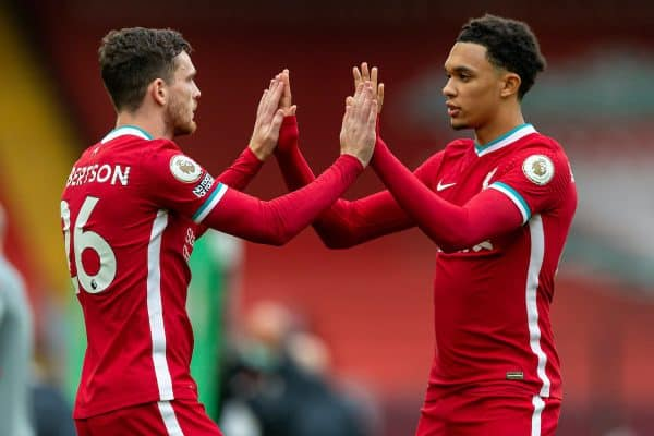 Liverpool's Andy Robertson (L) and Trent Alexander-Arnold (R) before the opening FA Premier League match between Liverpool FC and Leeds United FC at Anfield. The game was played behind closed doors due to the UK government's social distancing laws during the Coronavirus COVID-19 Pandemic. (Pic by David Rawcliffe/Propaganda)
