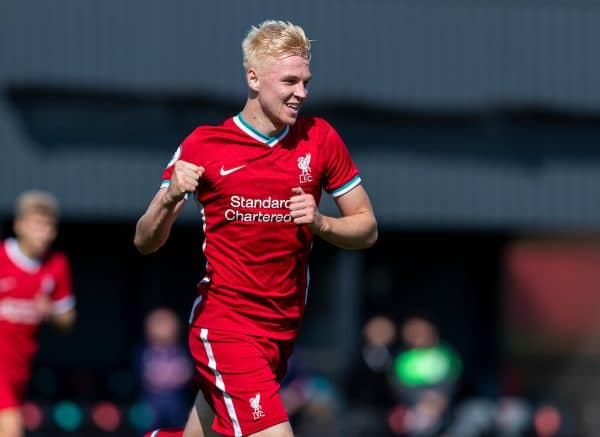 Liverpool's Luis Longstaff celebrates scoring the second goal, only for it to be disallowed, during the Premier League 2 Division 1 match between Liverpool FC Under-23's and Everton FC Under-23's at the Liverpool Academy. (Pic by David Rawcliffe/Propaganda)