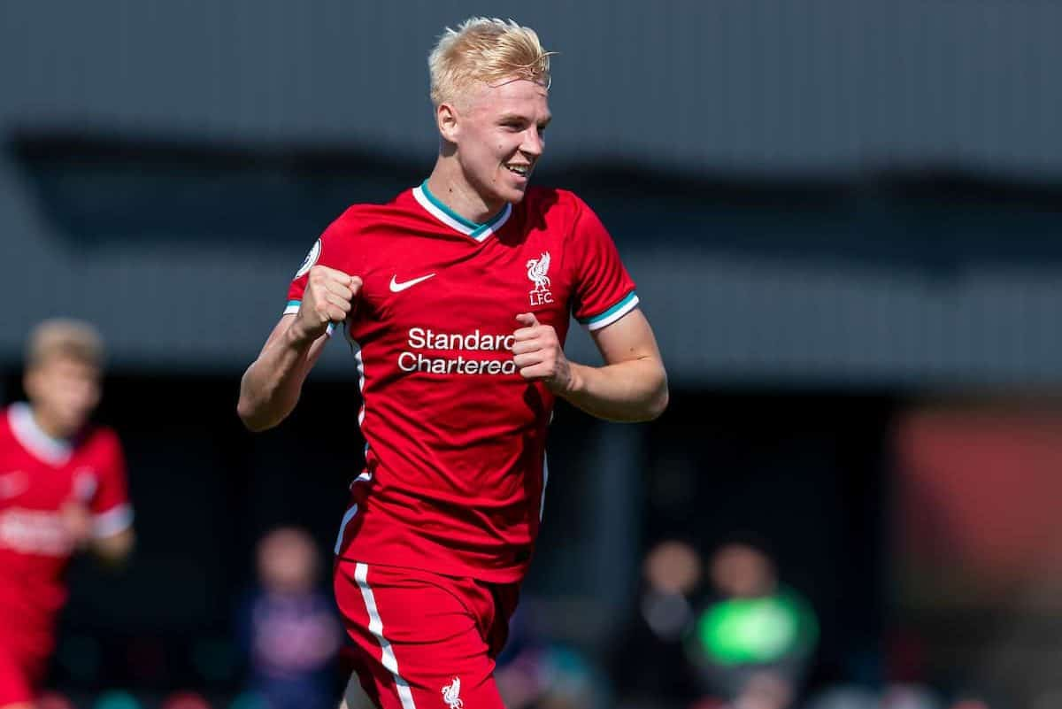 KIRKBY, ENGLAND - Sunday, September 13, 2020: Liverpool's Luis Longstaff celebrates scoring the second goal, only for it to be disallowed, during the Premier League 2 Division 1 match between Liverpool FC Under-23's and Everton FC Under-23's at the Liverpool Academy. (Pic by David Rawcliffe/Propaganda)