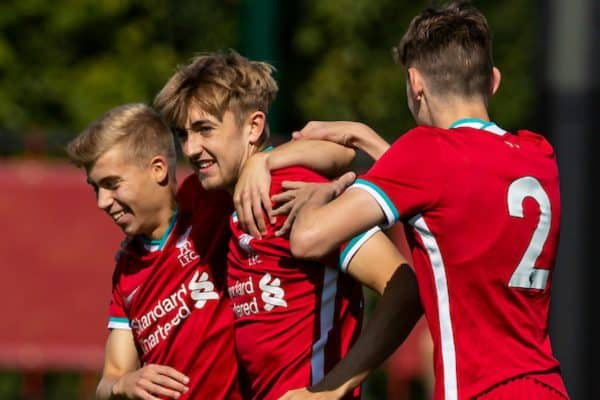 KIRKBY, ENGLAND - Sunday, September 13, 2020: Liverpool's Jake Cain (C) celebrates scoring the first goal during the Premier League 2 Division 1 match between Liverpool FC Under-23's and Everton FC Under-23's at the Liverpool Academy. (Pic by David Rawcliffe/Propaganda)