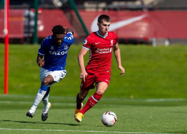 Liverpool's Ben Woodburn during the Premier League 2 Division 1 match between Liverpool FC Under-23's and Everton FC Under-23's at the Liverpool Academy. (Pic by David Rawcliffe/Propaganda)