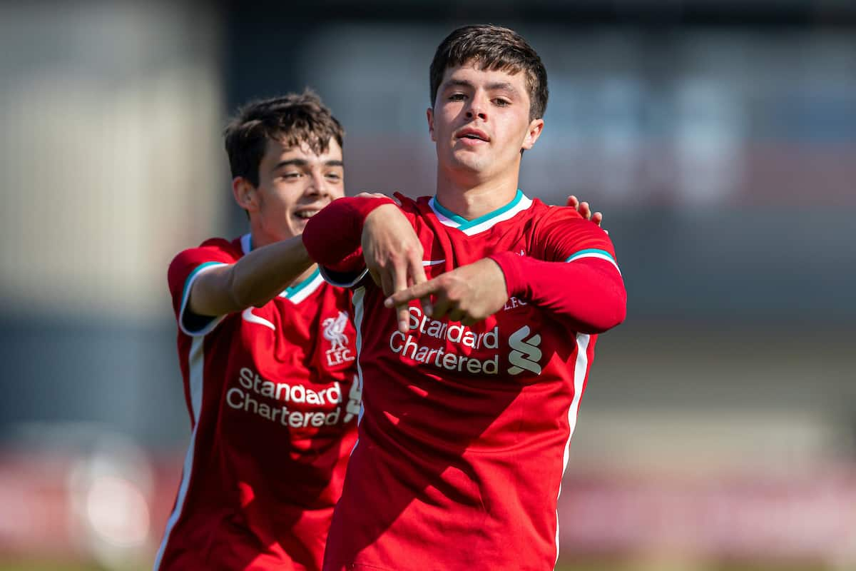 LIVERPOOL, ENGLAND - Saturday, February 22, 2020: Liverpool's Layton Stewart celebrates scoring the third goal, his hat-trick, to put his side 3-0 up during the Under-18 FA Premier League match between Liverpool FC and Manchester City FC at the Liverpool Academy. (Pic by David Rawcliffe/Propaganda)