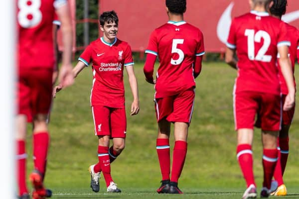 LIVERPOOL, ENGLAND - Saturday, February 22, 2020: Liverpool's Dominic Corness celebrates after scoring the fourth goal, his second from a corner-kick, during the Under-18 FA Premier League match between Liverpool FC and Manchester City FC at the Liverpool Academy. (Pic by David Rawcliffe/Propaganda)