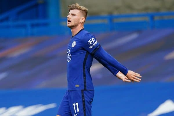 LONDON, ENGLAND - Sunday, September 20, 2020: Chelsea's Timo Werner looks dejected after missing a chance during the FA Premier League match between Chelsea FC and Liverpool FC at Stamford Bridge. The game was played behind closed doors due to the UK government's social distancing laws during the Coronavirus COVID-19 Pandemic. (Pic by Propaganda)
