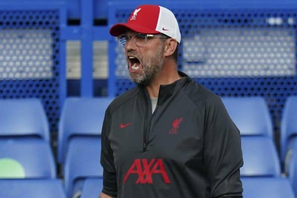 LONDON, ENGLAND - Sunday, September 20, 2020: Liverpool's manager Jürgen Klopp reacts during the FA Premier League match between Chelsea FC and Liverpool FC at Stamford Bridge. The game was played behind closed doors due to the UK government's social distancing laws during the Coronavirus COVID-19 Pandemic. (Pic by Propaganda)