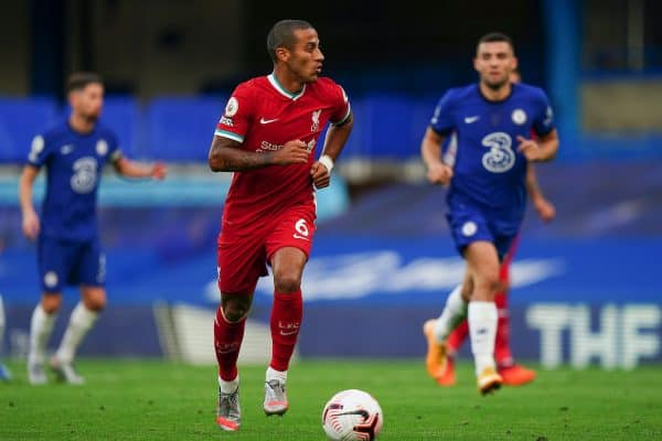 LONDON, ENGLAND - Sunday, September 20, 2020: Liverpool's new signing Thiago Alcantara makes his debut as a substitute during the FA Premier League match between Chelsea FC and Liverpool FC at Stamford Bridge. The game was played behind closed doors due to the UK government's social distancing laws during the Coronavirus COVID-19 Pandemic. (Pic by Propaganda)