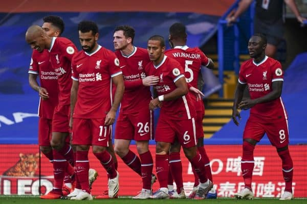 LONDON, ENGLAND - Sunday, September 20, 2020: Liverpool players celebrate the opening goal with a header during the FA Premier League match between Chelsea FC and Liverpool FC at Stamford Bridge. The game was played behind closed doors due to the UK government's social distancing laws during the Coronavirus COVID-19 Pandemic. (Pic by Propaganda)